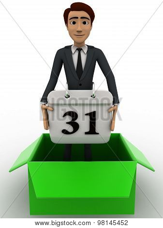 3D Man Stand Inside Box And Holding Calender Concept