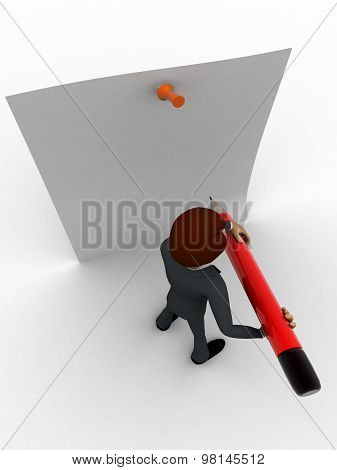 3D Man Holding Big Pencil And Write On Clip Board Concept