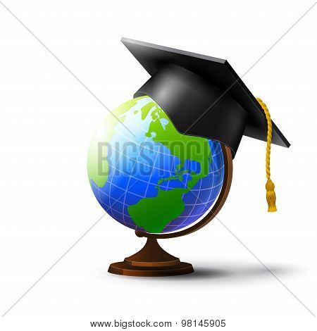 Globe and hat masters degree.