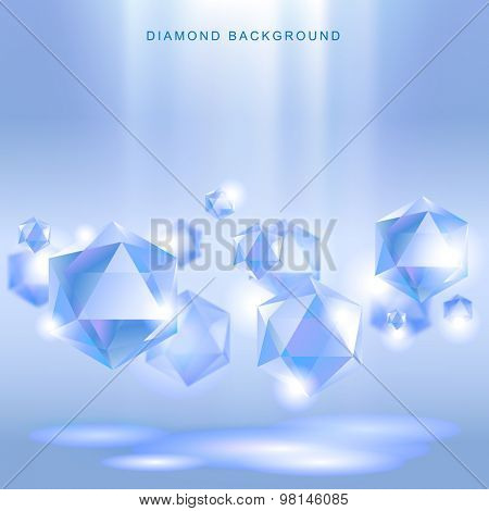 Light blue background with diamonds hanging in the air. Vector illustration