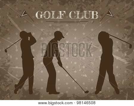 vintage poster with silhouettes of men playing golf. Retro hand drawn vector illustration