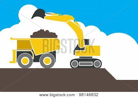 Backhoe Loader Excavator Machine Loading Dumper Truck, Vector