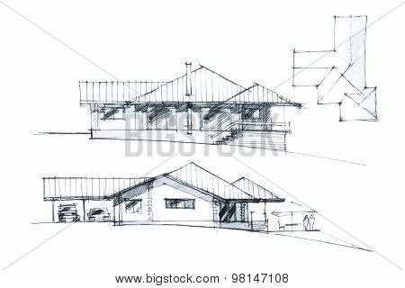 Modern Residential Place Exterior Sketch