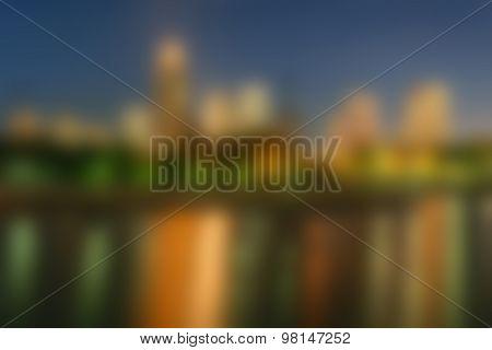 Blurred Bangkok Night And Benchakitti Park