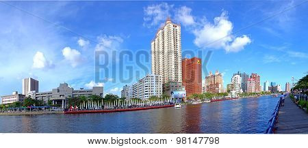 Panoramic View Of The Love River In Kaohsiung