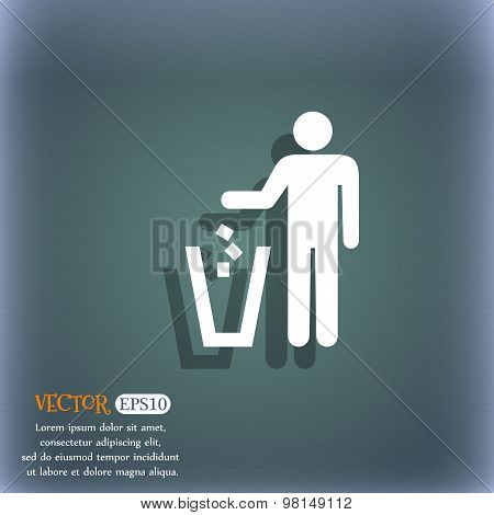 Throw Away The Trash Icon Symbol On The Blue-green Abstract Background With Shadow And Space For You