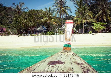 Long Boat And Tropical Beach, Andaman Sea,phi Phi Islands,thailand
