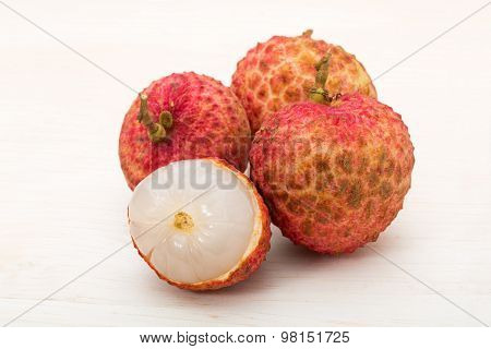 Litchi Chinensis On The Wooden