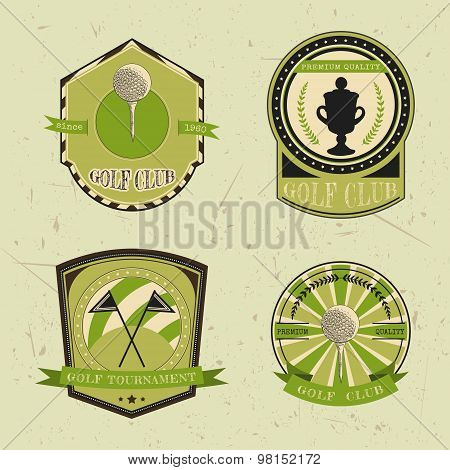 Set of golf club logo templates.Vintage sport labels with golf ball, championship cup and flags. Ele