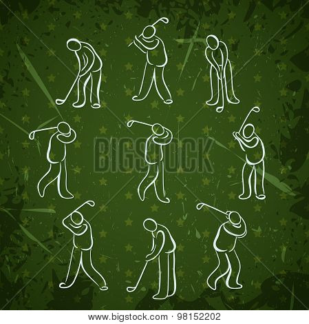 Set of golf sport people positions. Golfer playing icons design hand drawn vector illustration