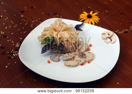Pancake With Field Mushrooms