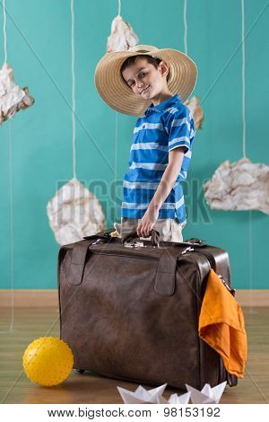 Little Traveler With Big Suitcase