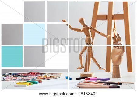 Collage Of Artist's Studio