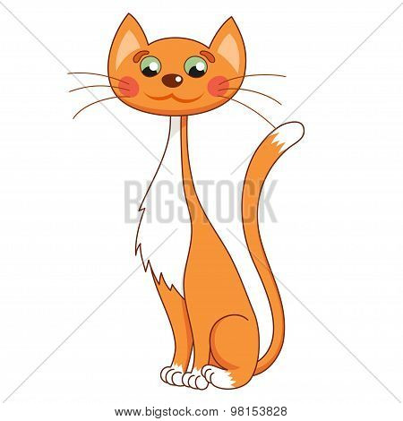 Cartoon lean kitty, vector illustration of funny cute thin red cat