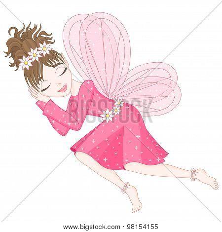 Cute fairy in bright pink dress is sleeping