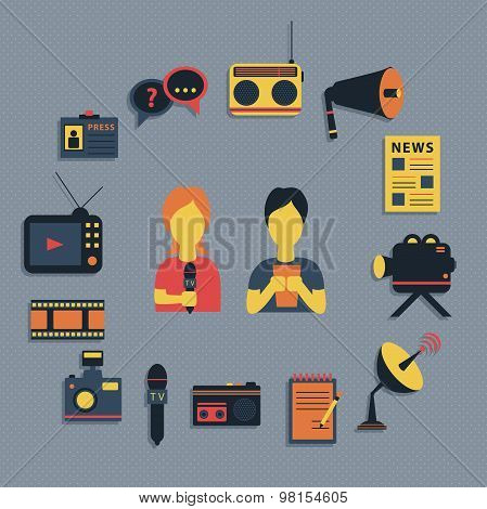 Vector illustration of Mass media journalism broadcasting news cast concept flat business icons set