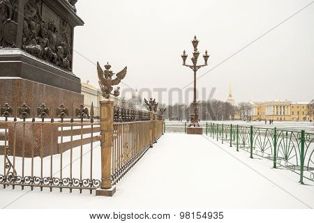 Palace square in winter in St. Petersburg