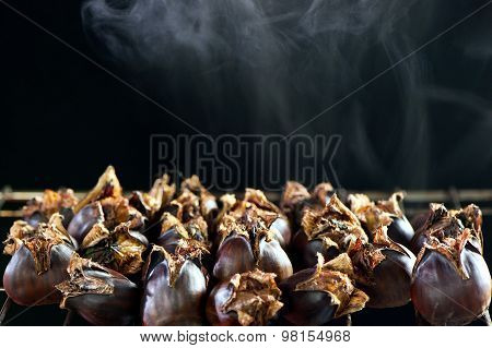 Hot Steaming Roasted Sweet Chestnut