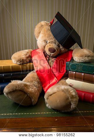 Brown Teddy Bear Wearing Graduation Cap Leaning On Book