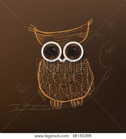 Poster with a coffee cup. Vector,Owl coffee concept.