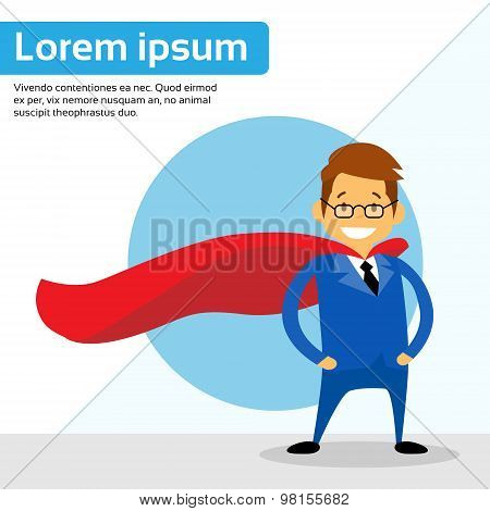 Businessman Super Hero Chartoon Wear Suit Red Cape