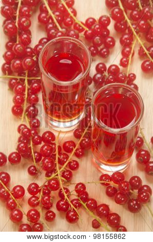 Redcurrants Liqueur In A Small Glass