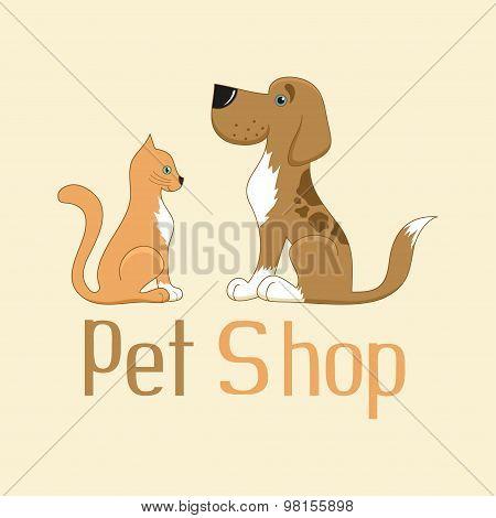 Cute cartoon cat and dog sign for pet shop logo