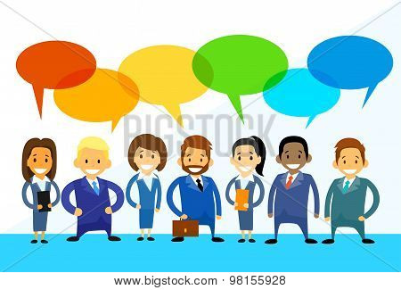 Business Cartoon People Group Talking Discussing Chat