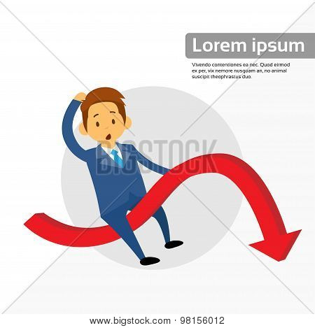 Businessman Riding Financial Graph Red Arrow Negative