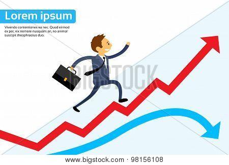 Businessman Running Red Arrow Graph Up Climbing