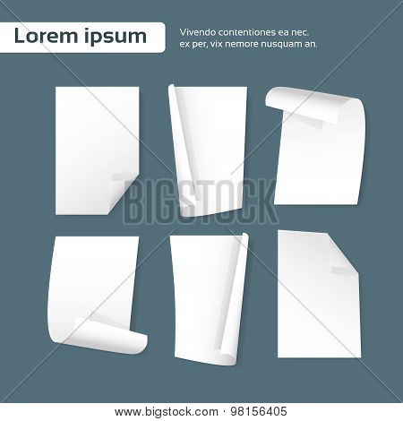 Blank Paper Sheet Curl Corner, Empty Page Set