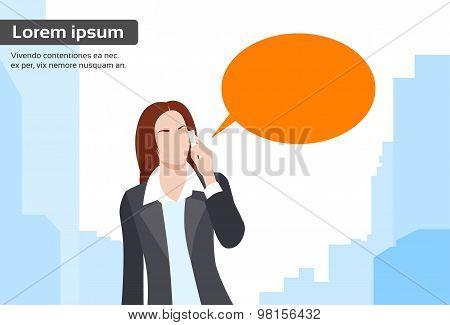 Businesswoman Smart Phone Talk Chat Bubble Communication