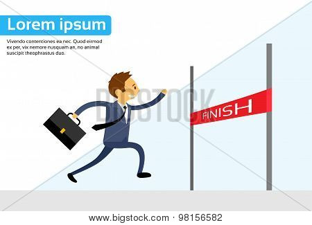 Businessman Run Cross Finish Line Flat Vector