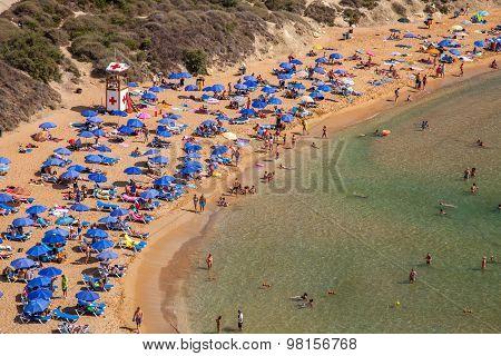 Beach Ghajn Tuffieha In Malta