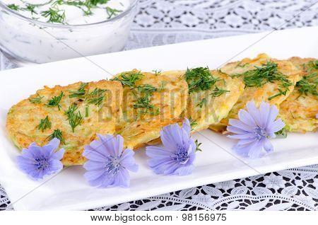Vegetable Fritters On A White Plate