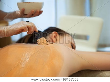 Beautiful Relaxed Woman Having Clay Body Mask