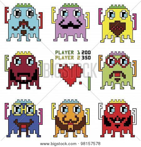 Pixelated hipster robot emoticons with simple hitting ball game