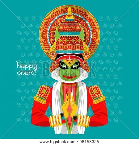 Decorated Indian Kathakali Dancer. Happy Onam