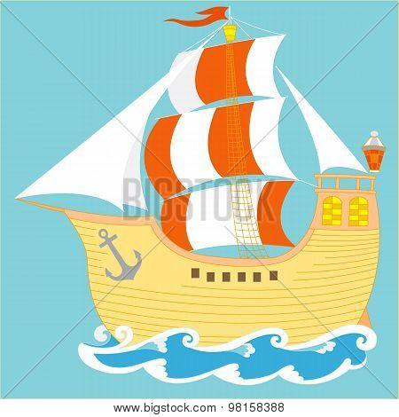 Beautiful ancient sailboat.