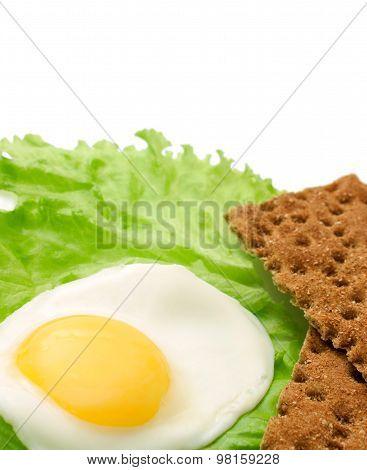 Healthy Food Copy Space: Fried Eggs, Lettuce, Crisp Bread