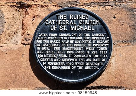 Old Cathedral Sign, Coventry.