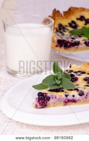 Blueberry Pie With A Glass Of Milk