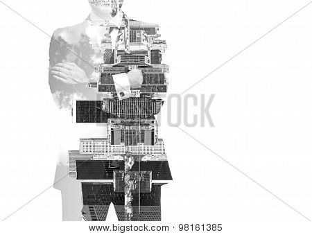 Abstract Black And White Image Of Transparent Businessman's Silhouettes. New York Cityscape. Isolate
