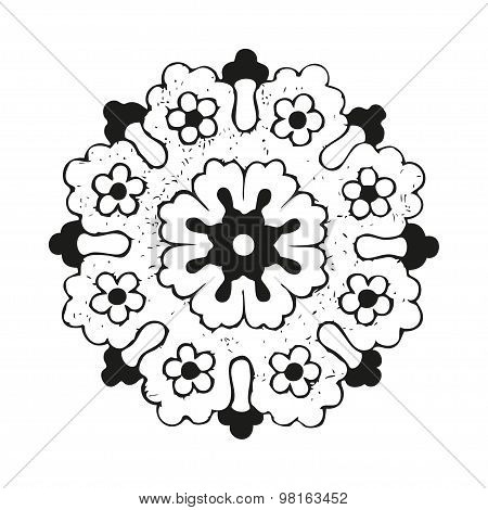 Vector round oriental flower vintage circle lacy on white background