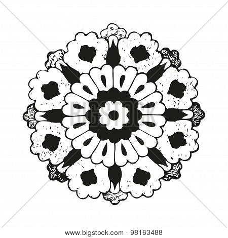 Vector round oriental flower vintage circle background lacy arabesque designs