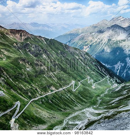 Alpine Road With Hairpins - Stelvio Pass