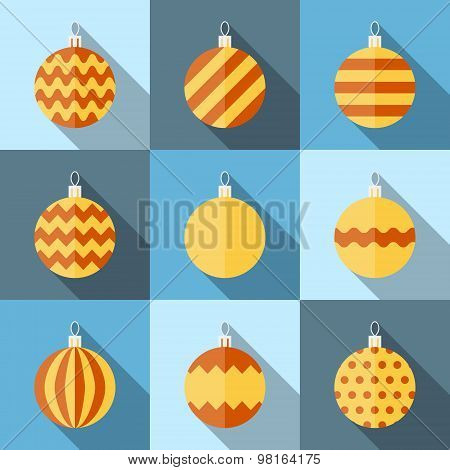 Flat Icon Set Of Christmas Decorations