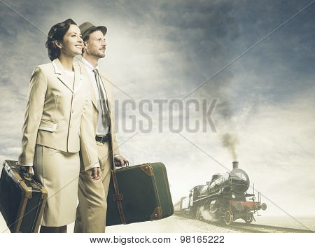 Vintage Couple Leaving For Vacations