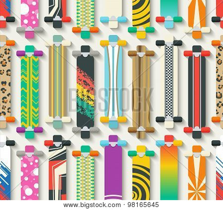 Longboards Seamless Pattern