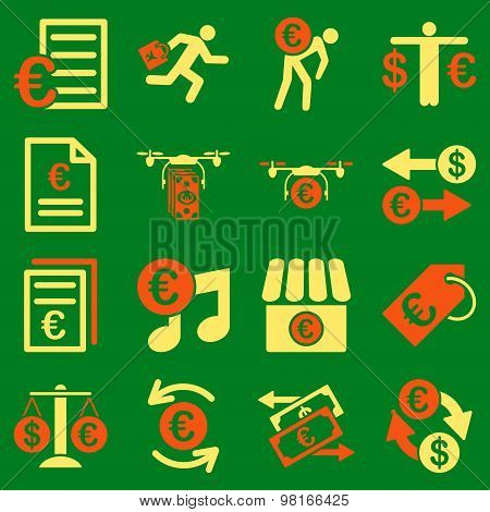 Euro Banking Business And Service Tools Flat Icon Set